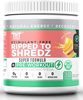 Ripped to Shredz Stimulant and Caffeine Free Preworkout for Men and Women with No Creatine | Electrolytes and Organic Stev...