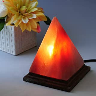 A-Star(TM) Natural Himalayian Salt Lamp - Wood Base with On and Off Switch/Dimmer - 5-7 Lbs Bulb with 6-8 Inches UL Electric Corded (Pyramid)