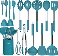 Silicone Kitchen Utensils with Holder, Fungun 16 Pcs Cooking Utensils Spatula Set with Stainless Steel Handle, Heat Resist...