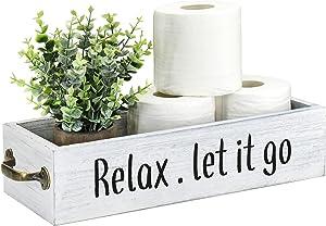 Bathroom Decor Box Toilet Paper Holder Wood Tank Box Paper Storage Basket with Metal Handle Bathroom Rustic Wooden Toilet Paper Organizer Box with Funny Sign Farmhouse Home Decor Box (White)