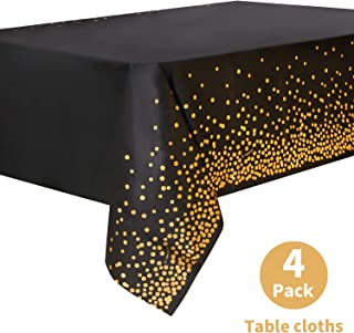 Duocute Black Disposable Party Tablecloth for Rectangle Table, Gold Stamping Dot Confetti Rectangular Plastic Table Cover, for Graduation, Birthday and Cocktail Party, 54