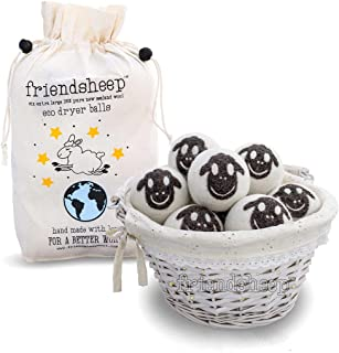 Friendsheep Organic Eco Wool Dryer Balls - 6 Pack - 100% Handmade, Fair Trade, Organic, No Lint - Premium Quality