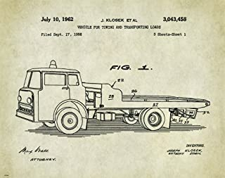 Tow Towing Truck Patent Poster Art Print 11x14 Repo Driver Wrecker Toys Wall Decor Pictures
