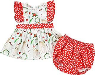 VISGOGO Kids Baby Girls Christmas Sister Matching Clothes Romper Lace Dress Outfits