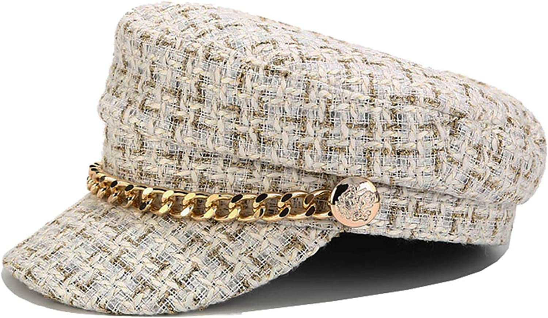 Women 70% 5 popular OFF Outlet Tweed-Plaid-Newsboy Fiddler Cap Cabbie-Berets Hat Classic