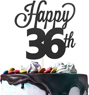 Happy 36th Birthday Black Glitter Cardstock Paper Cake Topper Cheers to 36 Years Old Bday Party Gift Photo Booth Sign Decoration - Premium Double Sided