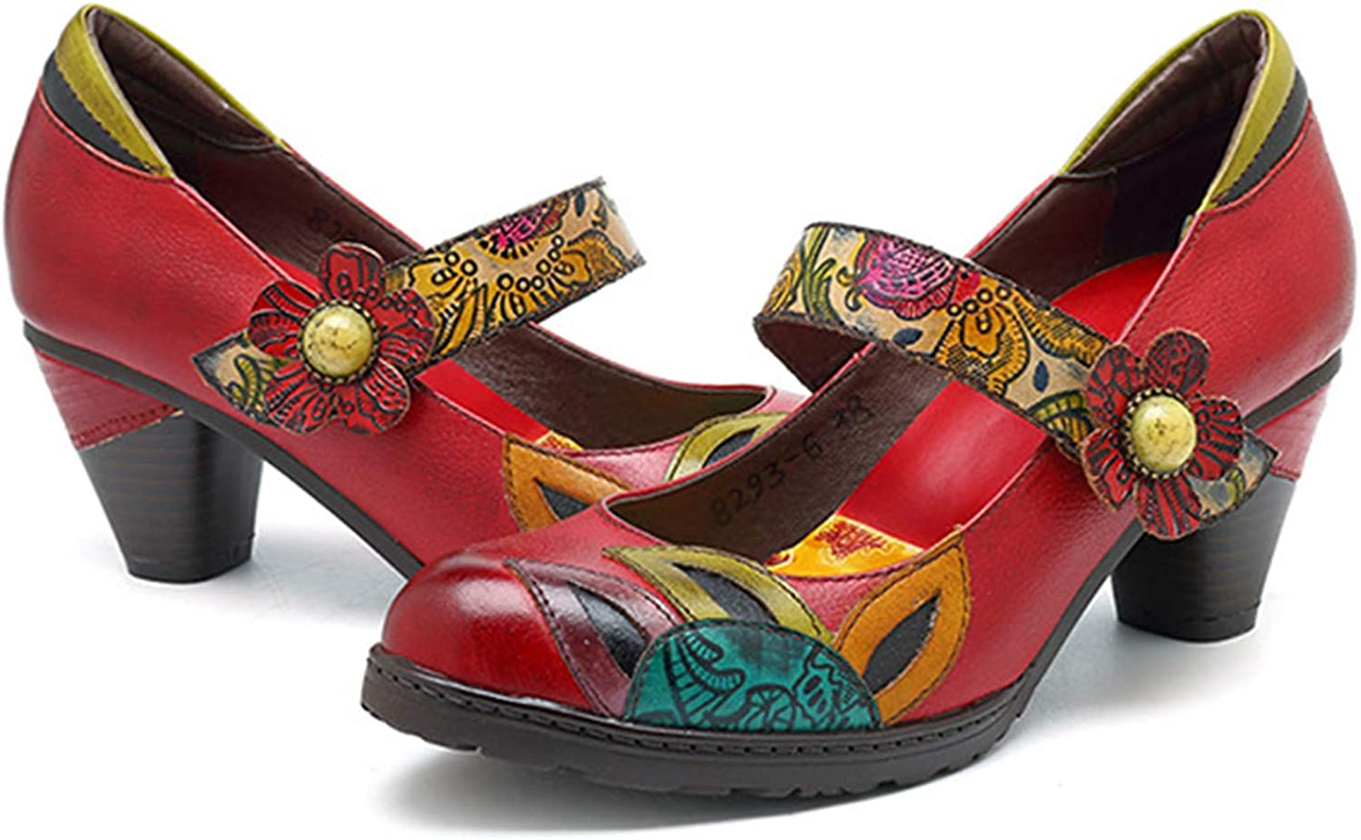 Crazycatz Women's colorful Flower Vintage Mary Jane Leather shoes Block Heel