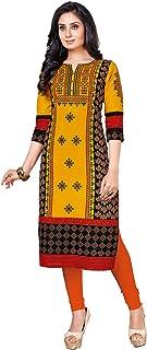 S Salwar Studio Women's Gold & Black Cotton Printed Straight Fit Readymade Kurta/Kurti-SSK-KAVYA-1206
