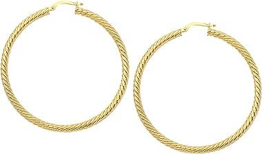 Boucles d'oreilles créoles torsadées en or jaune 14 carats Diamètre 50 mm