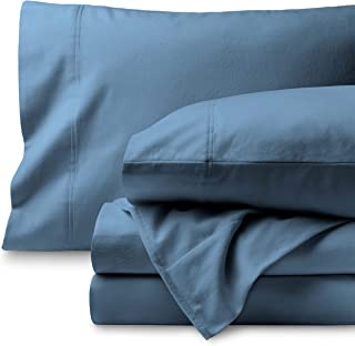 Bare Home Flannel Sheet Set 100% Cotton, Velvety Soft Heavyweight - Double Brushed Flannel - Deep Pocket (Queen, Coronet Blue)