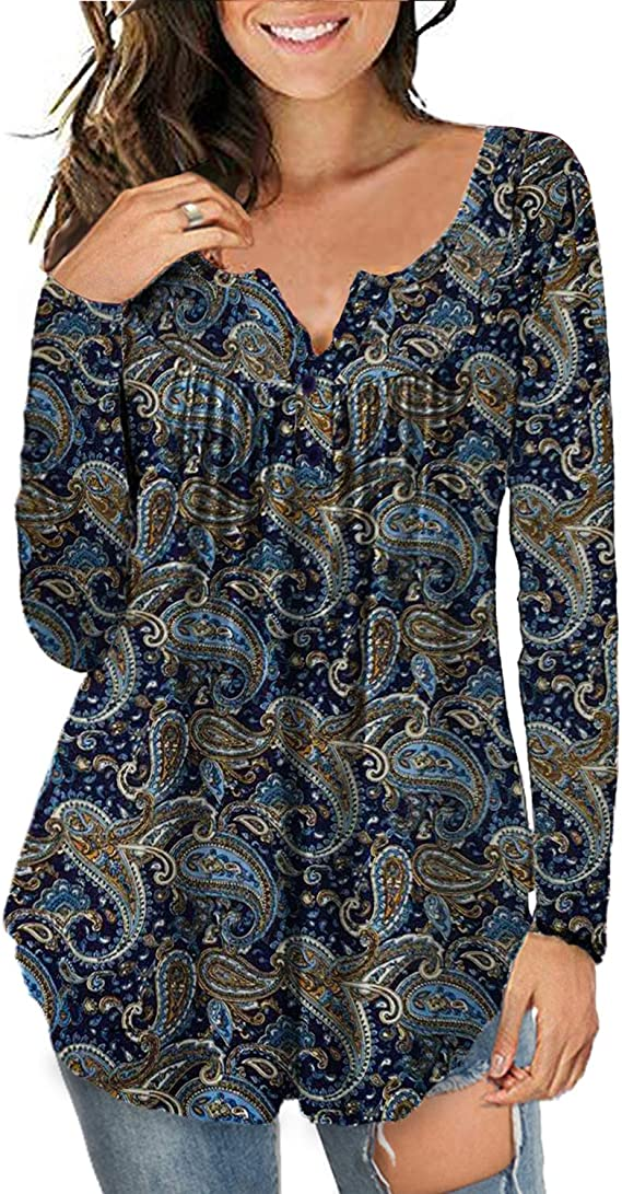 a.Jesdani Women's Plus Size Tunic Tops Long Sleeve Casual Floral Henley Shirt