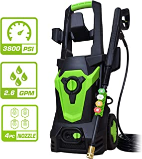 PowRyte 1800Watt Electric Pressure Cleaner with 3800PSI 2.6GPM, Power Washer with Seperated Soap Dispenser, Car Washer Machine with 4 Spray Tips