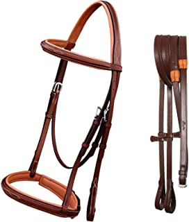 Exion Comfort Lined Crown Piece Designer Fancy Stitched Square Raised Browband & Both Side Adjustable Buckle Noseband Jumping Bridle with Rubber Reins. | Hunter Bridle | English Bridles for Horses