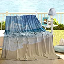Mademai Ocean Decor Collection Baby Blankets for Girls,Waves and Golden Paradise Beach with Bright Sky Sun Endless Summer Sea Coast View Print,Bed air Conditioner Cream Blue 60