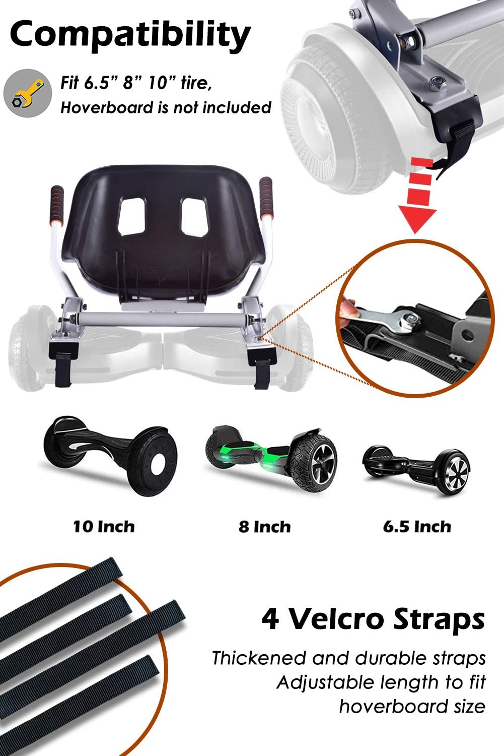 """KUMAMOT Hoverboard Seat Attachment for 6.5/"""" 8/"""" 10/"""" Hoverboard Go Kart Cart Conversion Kit Adjustable Frame Length Accessories for Self Balancing Scooter Hoverboard for Kids and Adults"""