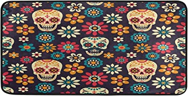 ALAZA Day of The Dead Skull Daisy Non Slip Kitchen Floor Mat Kitchen Rug for Entryway Hallway Bathroom Living Room Bedroom 39