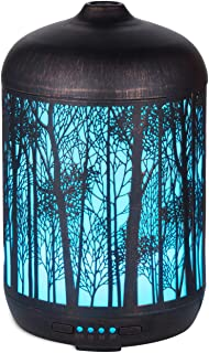 Forest Art Aromatherapy Essential Oil Diffuser,Humidifier,Ultrasonic Quiet,Cool Mist,Adjustable Time Setting,Color Light Changing,Waterless Auto Off,for Baby,Home,Office,Yoga,Birthday,Gift,Decorative