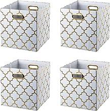 BAIST Cube Storage Bins,Fancy Foldable Canvas Decorative Gold Storage Cubes Bins Basket for Toys Clothes Books School Days...