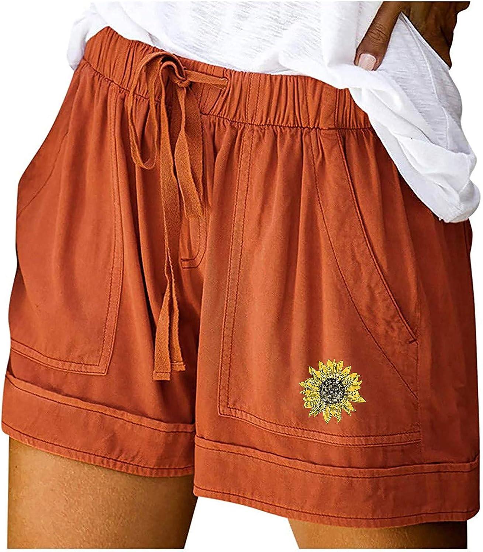 Auwer Women 's Sunflower Print Denim Shorts Casual Drawstring Elastic Waist Frayed Hem Loose Short Jeans with Pockets