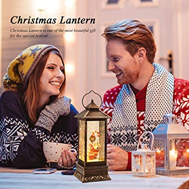 Decorative Christmas Musical Snow Globe Lantern with 8 Musics, LED Water Glittering Hanging Xmas Decoration for Home Decor Ho