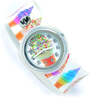Watchitude Slap Watch, Ice Cream Swirl - Boys and Girls, Plunge Proof, Removable Analog Face, Colorful and Inspiring, Interchangeable Silicone Bands, Youth Designs, Inspiring Cute Bracelet Watches