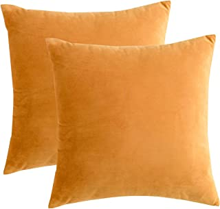 RainRoad Velvet Decorative Throw Pillow Covers Cushion Cover Pillow Case for Sofa Couch Bed Chair,Soft Square Yellew Throw Pillows 18x18 Inch,Set of 2