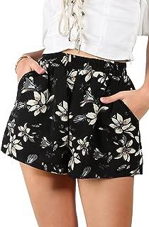Women's Flower Print Hot Summer Casual Beach Pockets Shorts
