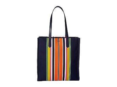 Kate Spade New York Kitt Stripe Large North/South Tote (Parisian Navy Multi) Handbags