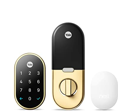 Google Nest x Yale Lock with Nest Connect - Tamper-Proof Smart Lock for Keyless Entry - Keypad Deadbolt Lock for Front Door - Works with Nest Secure Alarm System - [Brass]