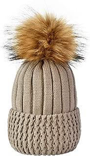 ENJOYFUR Womens Winter Knit Beanie Hats Thick Warm Fleece Lined Cuff Beanie Faux Fur Pompom Hats Ski Cap