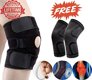 DEI QI Knee Support Leg Arthritis Injury Gym Sleeve Elasticated Bandage Pad Charcoal Knitted Elbow Knee Pads 2 pc