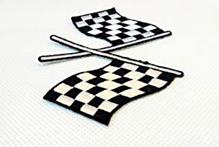 Zazza95 Black & White Checkered Flag Embroidered Sew Iron On Patch Badge Fabric Applique Crafts Auto Car Racing Rockabilly Biker Flags Patches For Clothing Shirts, Jeans, Jacket, Pants, Cap, Bag, Vest