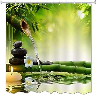 A.Monamour Rideau de Douche Anti Moisissure Imperméable Tissu Pierres De Spa d'eau en Bambou Vert Zen Polyester Étanche Ri...