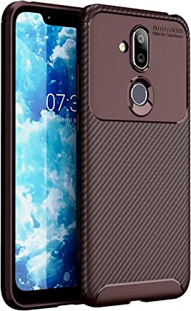 Golden Sand Compatible with Nokia 8.1 Back Cover Case Aramid Carbon Fibre Shockproof TPU Brown - Ultimate Protection from Drop in Slim Profile