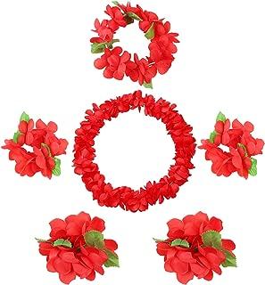 Hawaiian Luau Flower Leis Jumbo Necklaces Bracelets Headband Anklets Set 6-7 Pack