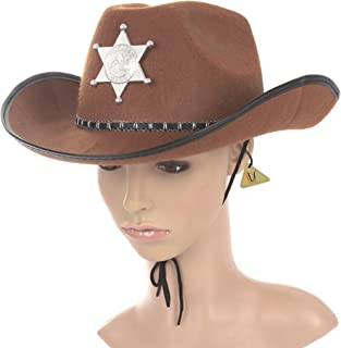 IDS Home Halloween Brown Sheriff Cowboy Hat Felt with Star Badge Cosplay Costumes Party Cap