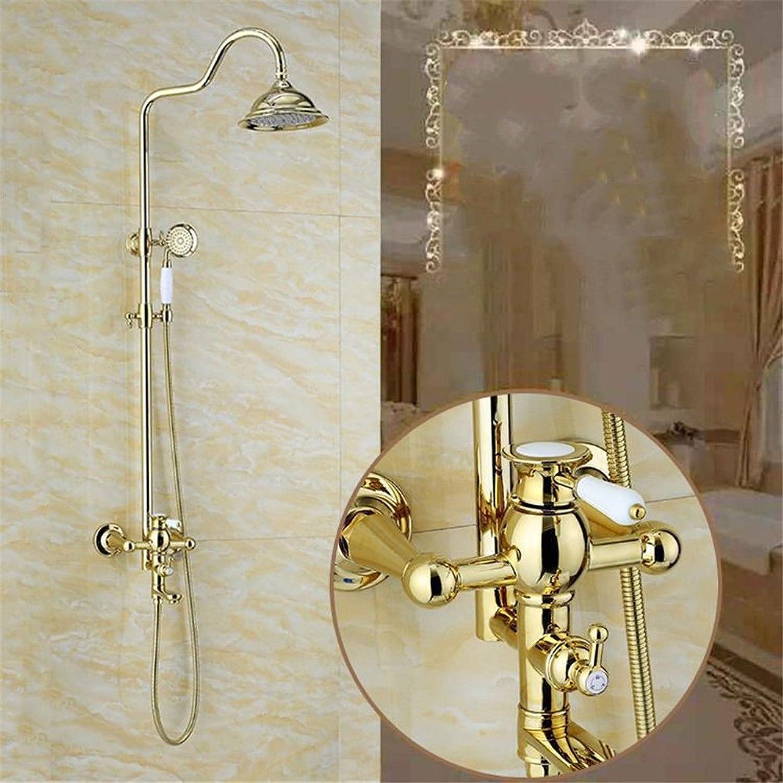 ETERNAL QUALITY Badezimmer Waschbecken Wasserhahn Messing Hahn Waschraum Mischer Mischbatterie Tippen Sie auf VerGoldete Badezimmer Dusche Wasserhahn voll Kupfer Dusche d
