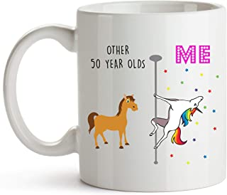 YouNique Designs 50th Birthday Mug, 11 Ounces, Funny 50th Birthday Coffee Cup For Women, Unicorn Mug