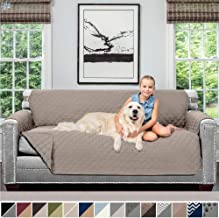 Sofa Shield Original Patent Pending Reversible Sofa Slipcover, 2 Inch Strap Hook, Seat Width Up to 70 Inch Furniture Protector, Couch Slip Cover Throw for Pets, Kids, Cats, Sofa, Lt Taupe Lt Taupe
