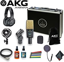 AKG C414 XLII Multi-Pattern Large-Diaphragm Condenser Microphone with ATH-M40x Headphones, Shockmount, 10Ft XLR, Pop Filter, Cable Ties, and 6Ave Cleaning Kit