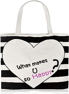 Large Women Canvas Shopping Handbag Casual Travel Tote Bag with Zipper Rope Handle Ladies Shoulder Beach Bag