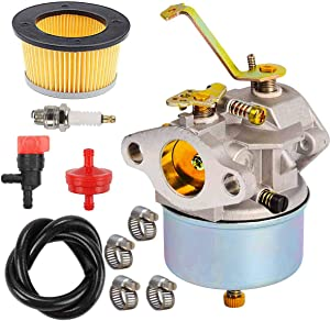YHLFOOZ 632230 Carburetor + 30727 Air Filter/Spark Plug for Tecumseh 5 HP 6 HP 632272 631828 631067 631067A H30 H50 H60 HH60 HH70 Engines 4 Cycle Engine Carb