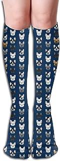 FOREVER ME, Calcetines de esquí de lana de alto rendimiento para invierno, al aire libre, hombres y mujeres, niños, diseño único de color 3D y leggings, Bulldog francés azul marino
