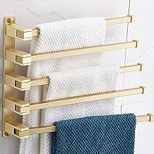 Home Messing Handdoekenrek 5-Bars Ruimtebesparend Handdoekhouders, Uitzwenkbare Handdoekstang Opklapbare Arm Handdoekhoude...