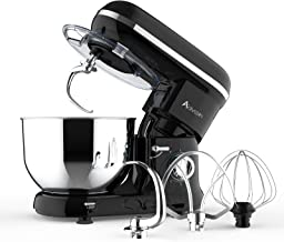 Ausbuy Stand Mixer, 900W 4.5L 6-Speed Tilt-Head Food Mixer, Kitchen Electric Mixer with Dough Hook, Wire Whip & Beater (Bl...