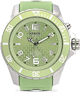 KYBOE! Power Stainless Steel Quartz Watch with Silicone Strap, Green, 26 (Model: KY.55-042.15