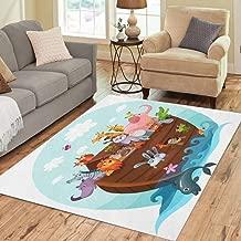 Semtomn Area Rug 5' X 7' Story Noah Ark Cartoon Arc Animal Boat Cute Home Decor Collection Floor Rugs Carpet for Living Room Bedroom Dining Room