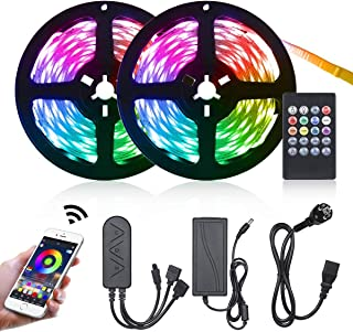 comprar comparacion 10M Tiras LED RGB 5050,Tomshine 300 LEDs Tiras LED de Luces 12V,Sync con Música,Control Remoto/Teléfono Inteligente APP Co...