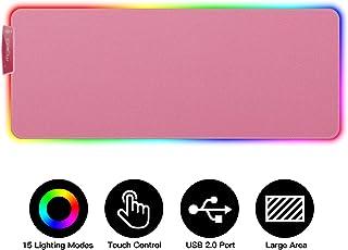 MoKo Alfombrilla de Ratón RGB Extra Grande, Base de Goma Antideslizante para Gamers, PC y Portátilcon 15 Modos de Iluminación y Puerto USB 2.0, Almohada de Teclado para Jugador - Rosa Cereza