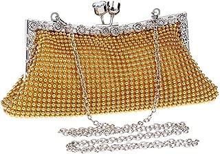 Fashion Ladies Hollow Aluminum Crystal Dinner Clutch Bag Banquet Bag Fashion Evening Bag Bridal Gown Bags (Color : Gold)